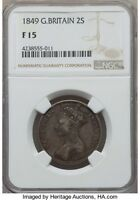 GREAT BRITAIN: VICTORIA GODLESS FLORIN 2 SCHILLING 1849 F15 NGC,