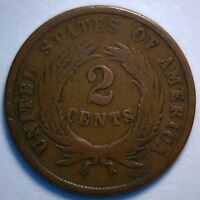 1865 TWO CENT UNITED STATES TYPE COIN GRADED GOOD G R1
