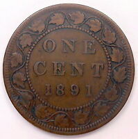 1891 LDLL OBV.3 LARGE CENT F VF NICE  DATE KEY VICTORIA CANADA PENNY