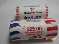 2  $1 ROLLS MARTIN VAN BUREN  GOOD TO UNCIRCULATED   UNITED STATES MINT ROLL