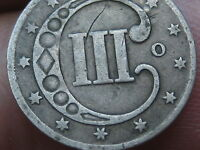 1851 O THREE 3 CENT SILVER PIECE  VG/FINE DETAILS