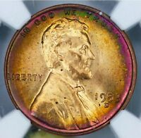 RAINBOW TONED 1953 D LINCOLN CENT NGC MINT STATE 65 RD
