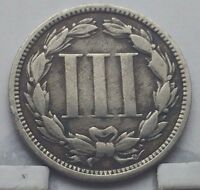 1868 US 3 CENT NICKEL COIN