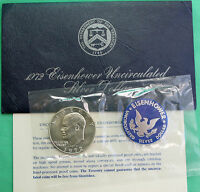 1972 S SILVER IKE DOLLAR BLUE EISENHOWER BU 40 SILVER COIN AND US MINT ENVELOPE