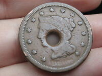 1843 1857 BRAIDED HAIR LARGE CENT PENNY HOLED