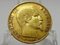 1860A FRANCE GOLD 20 FRANCS COIN KM781.1 SECOND EMPIRE NAPOLEON III