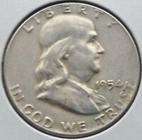 1954 50C FRANKLIN HALF DOLLAR                                                F8