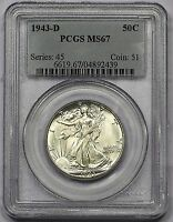 1943-D PCGS MINT STATE 67 WALKING LIBERTY HALF SOFT WHITE SMOOTH&SATINY FIELDS PREMIUM