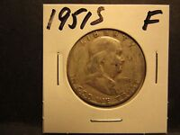 1951S 90 SILVER  FINE  12 CONDITION FRANKLIN HALF DOLLAR TONING