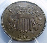 1864 PCGS MINT STATE 62 BU US TWO CENT PIECE 2 PENNY ANTIQUE OLD U.S. CURRENCY MONEY COIN