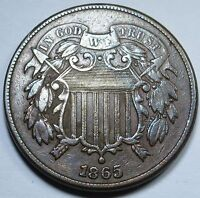 1865 EXTRA FINE -AU DETAIL U.S. TWO CENT PIECE HIGH GRADE 2 PENNY US ANTIQUE CURRENCY