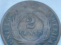 1865 TWO 2 CENT PIECE- CIVIL WAR TYPE COIN- VG DETAILS, FULL DATE