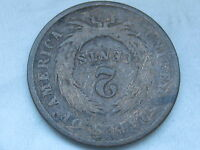 1864 TWO 2 CENT PIECE- CIVIL WAR COIN- COMPLETELY ROTATED REVERSE MINT ERROR