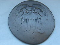 1864 TWO 2 CENT PIECE- LARGE MOTTO, CIVIL WAR TYPE COIN, SMASHED/ELONGATED