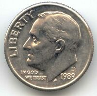 USA 1989D TEN CENT AMERICAN ROOSEVELT DIME 10C 10 C EXACT COIN SHOWN 1989 D