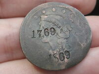BRAIDED HAIR LARGE CENT PENNY  COUNTERSTAMPED 1769 1869