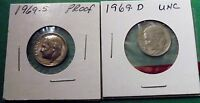 1969 D ,1969 S  PROOF ROOSEVELT DIMES