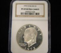 1972 S IKE NGC SILVER PROOF EISENHOWER DOLLAR PF 69 ULTRA CAMEO
