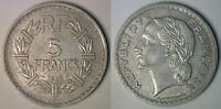 1948 ALUMINUM FRANCE 5 FRANCS OPEN 9 FRENCH COIN EXTRA FINE