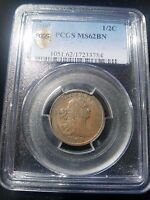 1800 DRAPED BUST HALF CENT PCGS 62BN C 1 GREAT FIRST YEAR TYPE