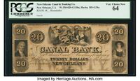 $20 1800'S OBSOLETE BANK NOTE NEW ORLEANS CANAL & BANKING PCGS CHOICE NEW