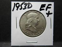 1953D 90 SILVER FRANKLIN HALF DOLLAR LY  FINE 45 CONDITION NO DEFECTS