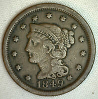 1849 BRAIDED HAIR LARGE CENT US COIN ONE CENT 1C COPPER F R2