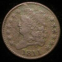 1811 BUST HALF CENT COPPER COIN  FINE KEY DATE