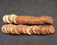 1968 S UNC/RED PENNY ROLL 50 COINSSOME ARE TONED
