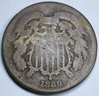 1869 U.S. 2C TWO CENT PIECE 2 PENNY US ANTIQUE CURRENCY COIN REAL OLD USA MONEY