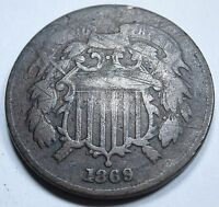 1869 VF U.S. TWO CENT PIECE 2 PENNY US ANTIQUE CURRENCY OLD USA VINTAGE MONEY