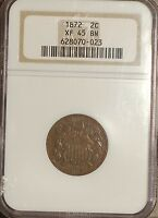 1872  TWO CENT PIECE GRADED BY NGC EXTRA FINE  45 BN