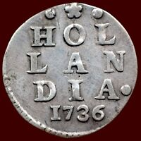 HOLLAND PROVINCE 1736   DOUBLE WAPEN STUIVER OR NEW YORK COLONIAL DIME VF