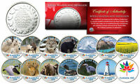 CANADA 150 CELEBRATION RCM ROYAL CANADIAN COLOR MEDALLIONS SET OF 14   WILDLIFE