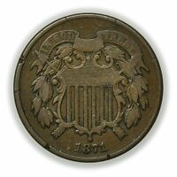 1871 TWO CENT PIECE, CIRCULATED COPPER 2C COIN [3255.41]