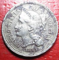 1881 US THREE CENT NICKEL PIECE ANTIQUE 3 PENNY OLD USA CURRENCY MONEY COIN U.S.