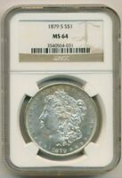 1879 S MORGAN SILVER DOLLAR MINT STATE 64 NGC