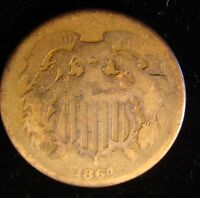 1864 TWO CENT PIECE G - GREAT COIN