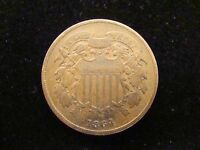 1864 TWO CENT PIECE EXTRA FINE  - GREAT COIN