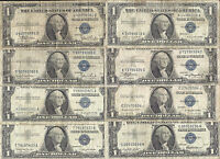 1935 & 1957 $1 SILVER CERTIFICATES 8 NOTES CIRCS OLD US PAPER MONEY