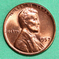 1957 UNCIRCULATED COPPER LINCOLN CENT BU PENNY WHEAT CENT NICE COIN
