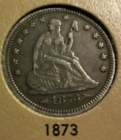1873  WITH ARROWS SEATED LIBERTY QUARTER NICE ORIGINAL XF CONDITION