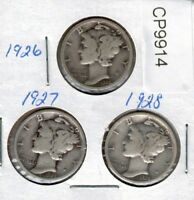 1926 1927 AND 1928 MERCURY DIMES  CP9914