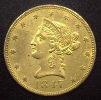 1847 O NO MOTTO $10.00 LIBERTY U.S. GOLD COIN AU  NEW ORLEANS MINT ISSUE