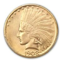 1908 D $10 NO MOTTO INDIAN HEAD PCGS MS64 CAC