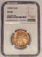 1908 S $10 NGC XF40 INDIAN EAGLE GOLD COIN: FROM THE SAN FRANCISCO MINT