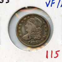 1833 H10C CAPPED BUST SILVER HALF DIME. CIRCULATED. LOT  1561
