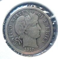 1915  BARBER DIME CIRCULATED CONDITION 90  SILVER US COIN A21