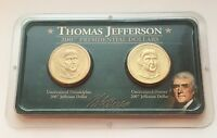 2007 THOMAS JEFFERSON PRESIDENTIAL DOLLARS P & D 2 COINS UNCIRCULATED SET LITTLE