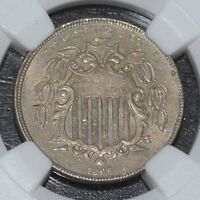 1866 5C SHIELD NICKEL WITH RAYS GRADED BY NGC AS AU 58